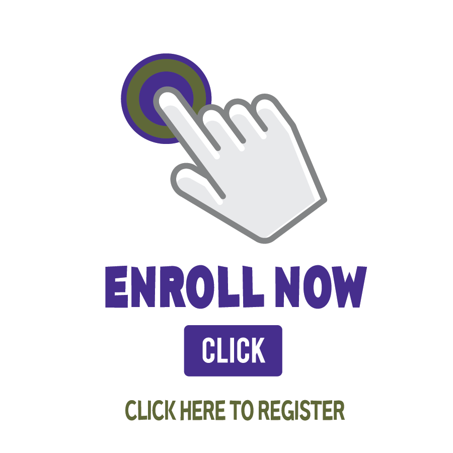 Enroll now graphic with pointing finger